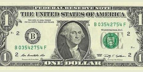 American 1 dollar bill banknote