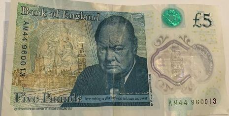 5 great British pound banknote